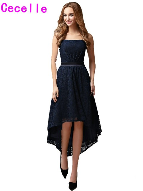 Us 97 79 30 Off 2019 Real Navy High Low Bridesmaid Lace Dresses Strapless Short Front Long Back Country Rustic Wedding Bridesmaid Robes Custom In