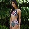 2017 Sexy High Neck Bikini Swimwear Women Swimsuit High Waist Bikini Set Halter Top Beach Wear
