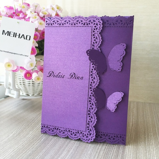 30pcs Free Printable Wedding Invitations Cards Girl Birthday Party Decoration Greeting Hollow Out Butterfly Romantic