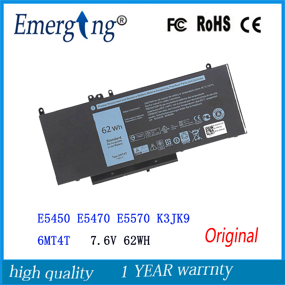 7.6V 62WH New Original Laptop Battery for Dell Latitude E5450 E5470 E5570 K3JK9 6MT4T