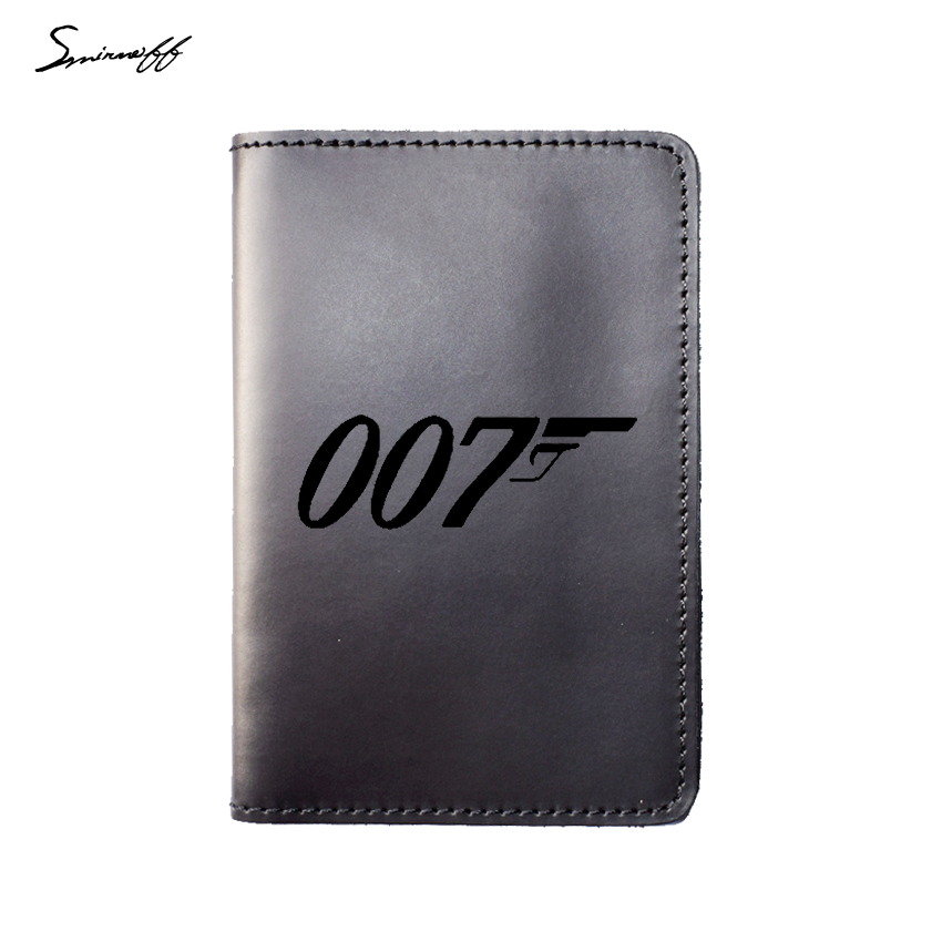 New Travel Accessories Card Holder Genuine Leather Passport Holder Engraved Movie Film James Bond 007 Passport Cover