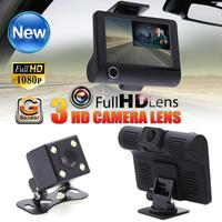 4 Inch Car DVR Camera Dashcam Dual Lens Cam 1080P Full HD Video Registrator Recorder Rearview