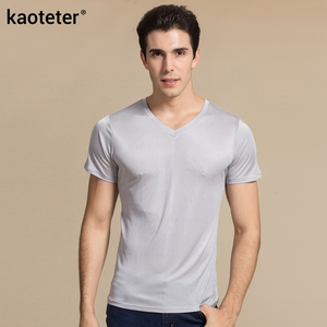 Image 4 - 100% Real Silk Mans T shirts Short Sleeve V Neck Man Wild Black White Solid Color Male Bottoming Tee Sweater Shirts Tops