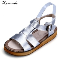 Xemonale Silver Gladiator Sandals Summer Platform Flip Flops Genuine Leather Creepers Shoes Woman Flats Size 35