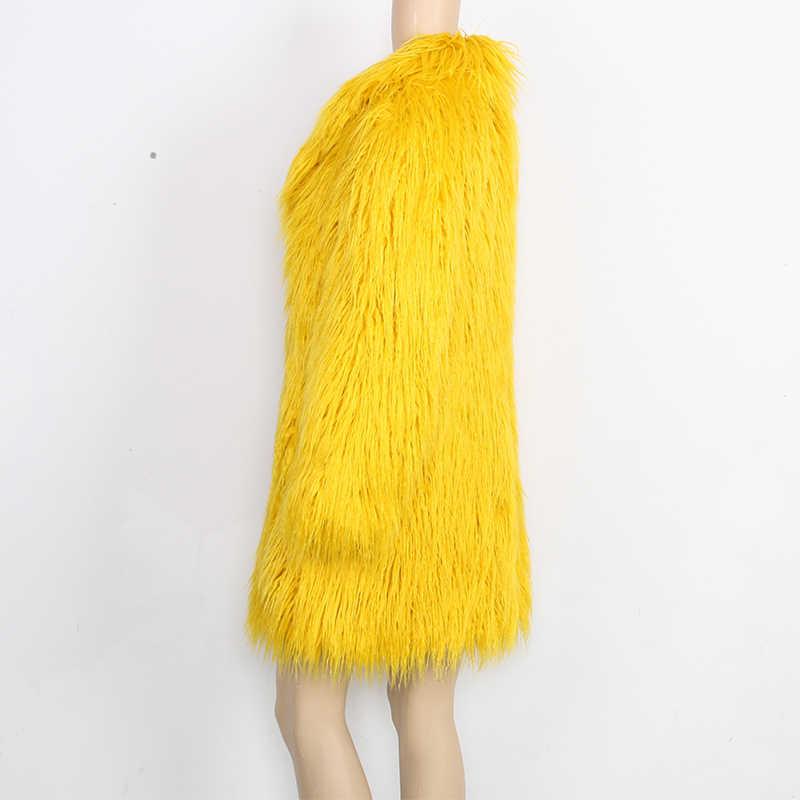 Нерадзурри куртка Для женщин зимнее пальто из искусственного меха Для женщин с длинным рукавом желтый Элегантный Пушистый ворсистый поддельные женское меховое пальто верхняя одежда