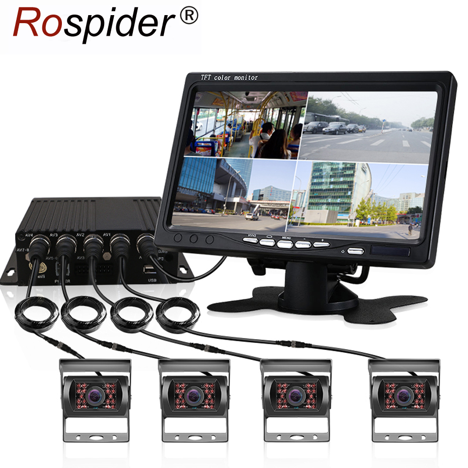 Truck DVR Dash Camera 4 Channel Cam Backup Video Recorder Kit CCTV Rear View Monitor Car