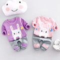 2017 New Spring  Baby Girls Kids Cute cartoon stars moon rabbit pullovers + Love patch pants Infants 2pcs clothing set S4702