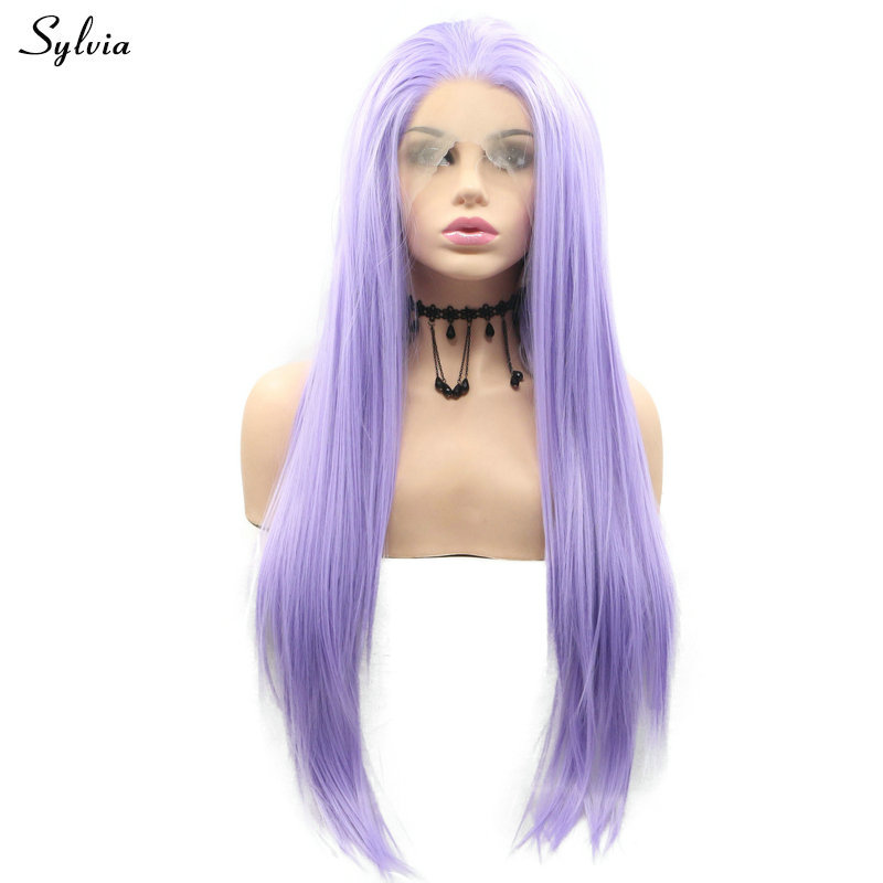 Sylvia Bright Wigs Lilac Purple Lace Front Wig Heat Resistant Fiber Hair Synthetic Wig Natural Hairline Cosplay Party For Women