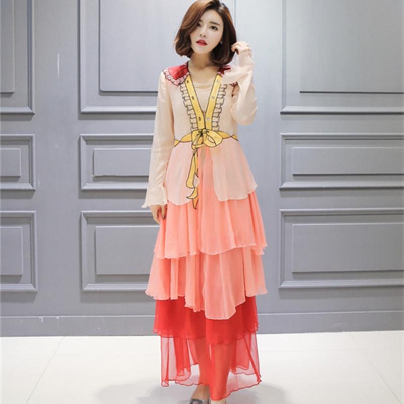 2018 New Spring Runway Designer Dress Fashion Big Hem Long