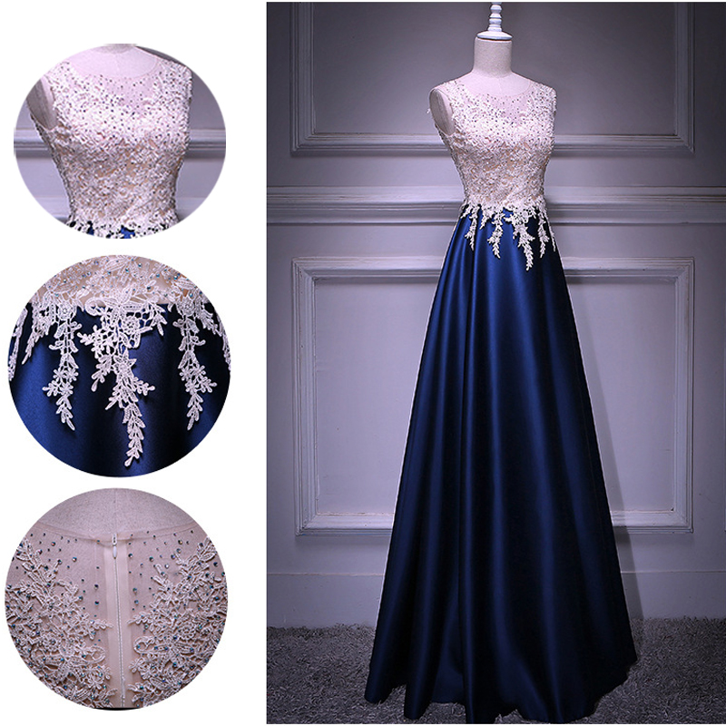 Sleeveless A-line Beading Crystal Long Evening Dress