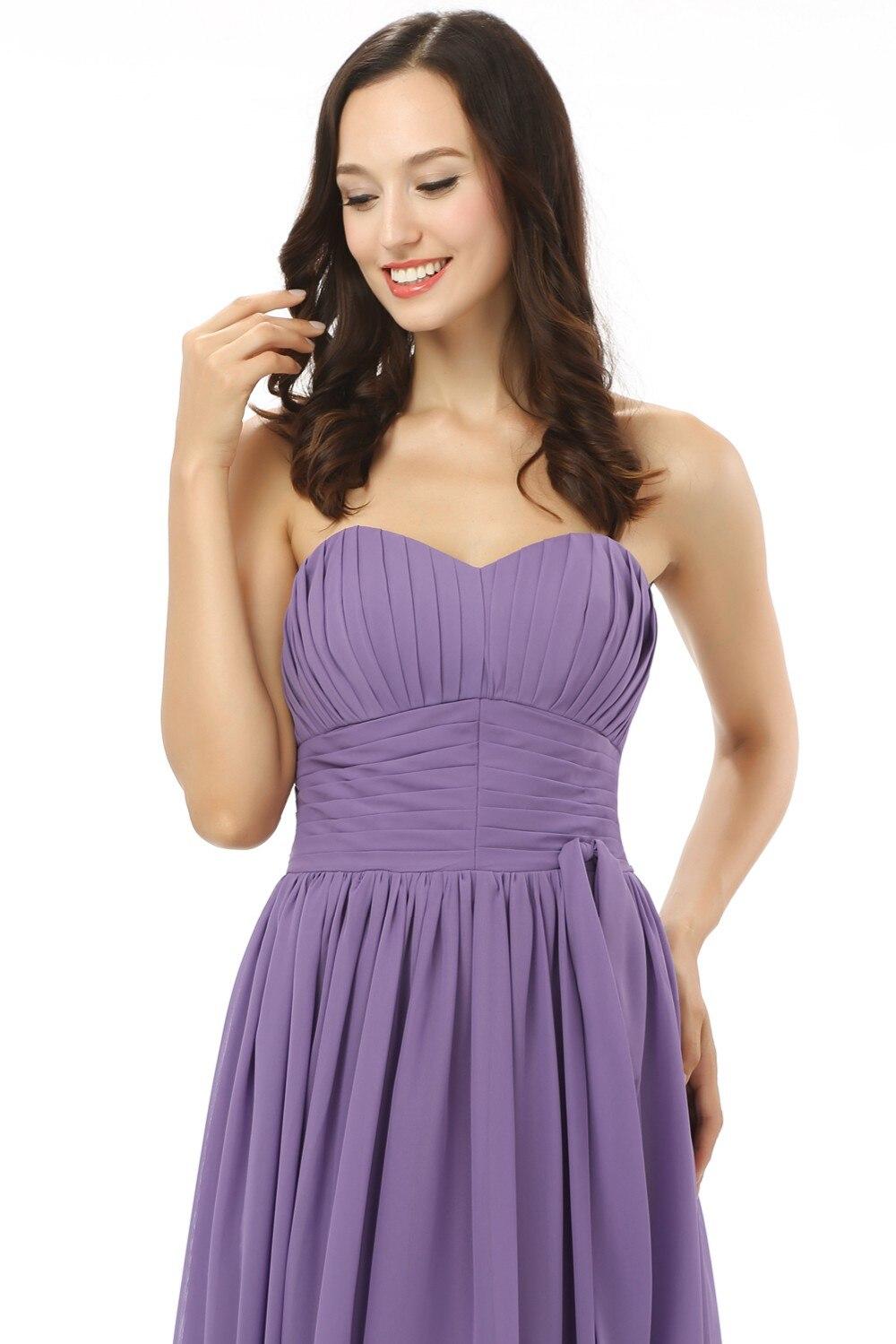 Nouveau 2019 robes de demoiselle d'honneur pas cher moins de 50 a-ligne chérie longueur de plancher en mousseline de soie violet clair robes de fête de mariage - 6
