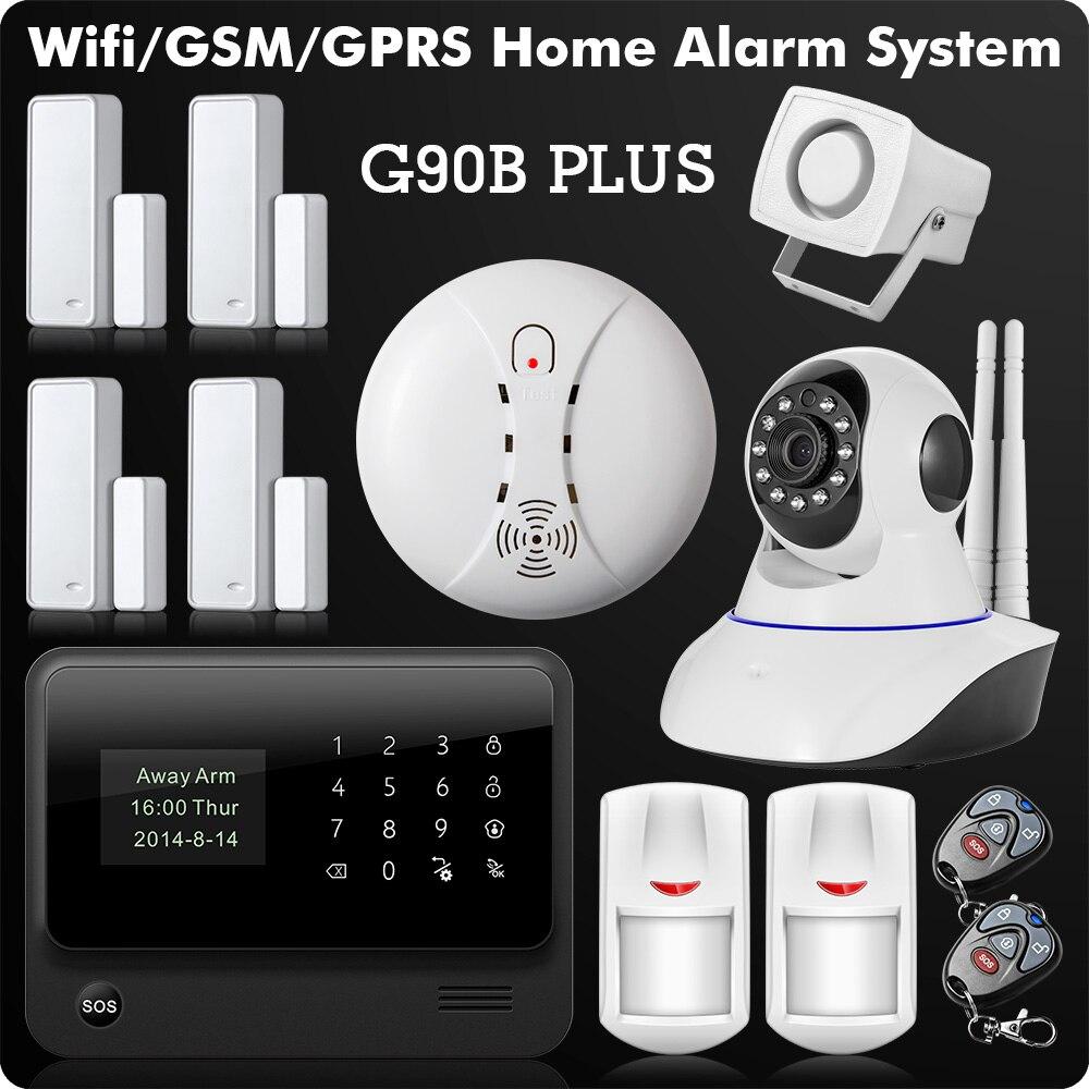 2018 WiFi Alarme GSM GPRS SMS Sans Fil de Sécurité À Domicile Système D'alarme Anti-Intrusion avec HD Wifi IP Caméra Détecteur de Fumée
