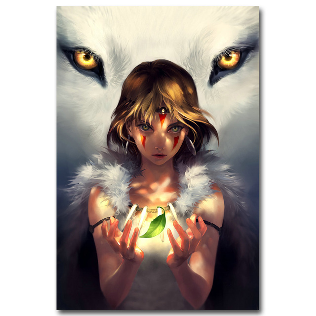 Princess mononoke art silk fabric poster print 13x20 24x36inch princess mononoke art silk fabric poster print 13x20 24x36inch japanese cartoon anime picture for room wall voltagebd Image collections