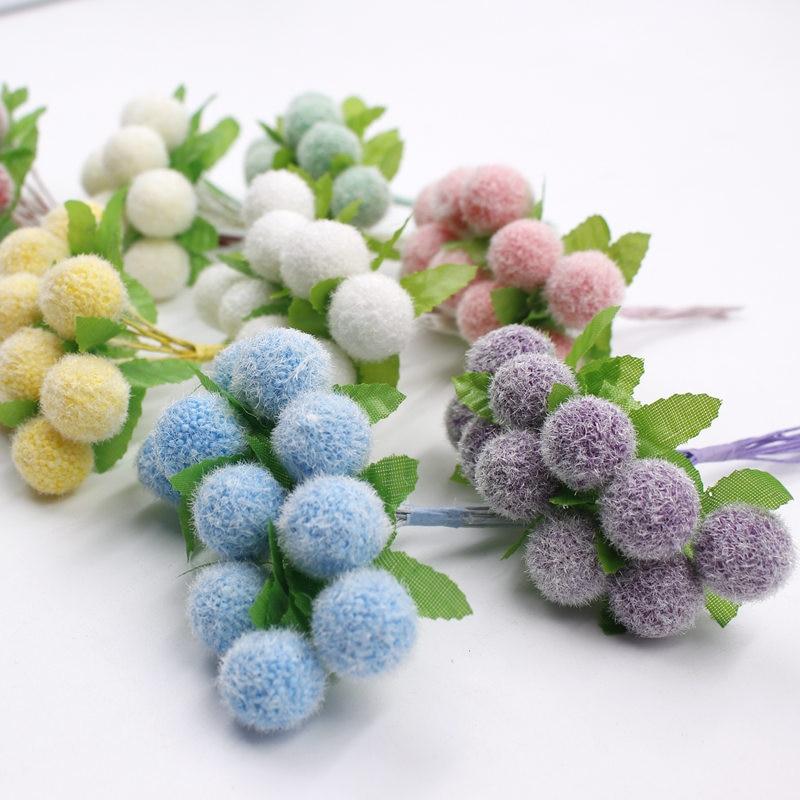 10 Cm/bündel Künstliche Blumen Künstliche Blase Ball Baumwolle Samt Bouquet/home Dekoration Diy Weihnachten Hochzeit 30 Stücke