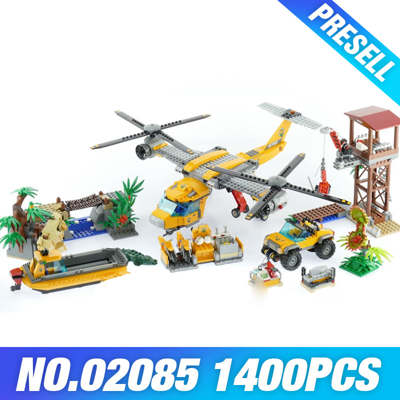 Lepin 02085 Genuine 1400Pcs City Series The Jungle Air Drop Helicopter Set Building Blocks Bricks Model Toys For Children 60162 lepin 02061 genuine city series the jungle exploration site set 60161 building blocks bricks christmas gift for children 870pcs