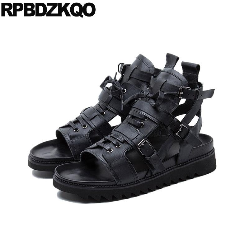 все цены на Designer Breathable Genuine Leather Black 2018 High Quality Luxury Roman Platform Shoes Flat Strap Men Gladiator Sandals Summer онлайн