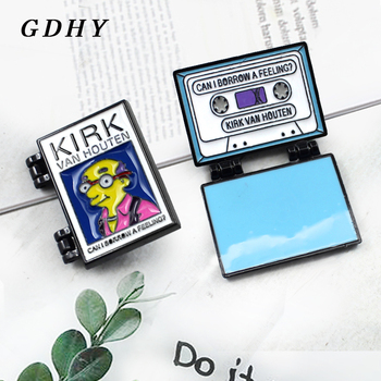GDHY KIRK Tape Audio Cassette Brooches VAN HOUTAN,CAN I BORROW A FEELING Enamel Pin Cover Brooch Punk Badge Backpack Jewelry image