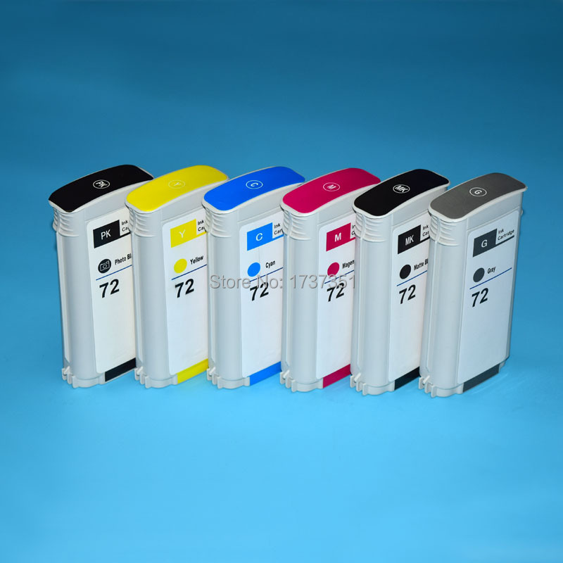 130ml 6 color HP72 compatible cartridge full with dye ink for HP Designjet t610 t620 t770 t790 t1100 t1120 t1200 t1300 t2300 full ink 6 pcs ink cartridge t0771 t0772 t0773 t0774 t0775 t0776 for epsonr260 r380 r280 rx580 rx680 rx595