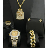 Diamond Men Watch Iced Out Cuban Hip Hop Watch &Necklace & Bracelet &Earrings &ring Combo Set Top Brand 23 number Pendant