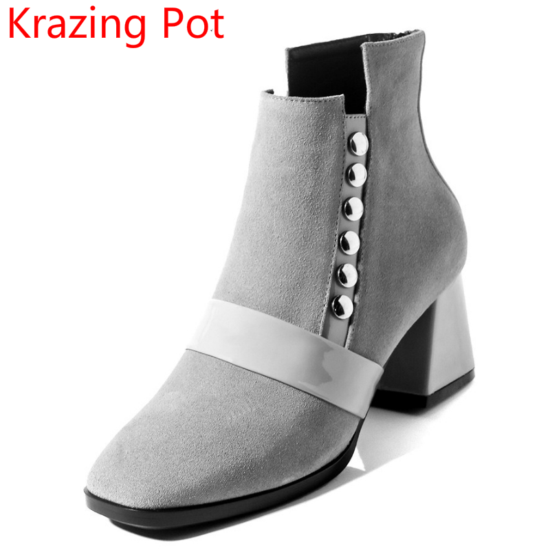 New Arrival Cow Suede Rivets Black Winter Shoes High Heel Women Ankle Boots Square Toe Elegant Warm Solid Motorcycle Boots L03 2018 new arrival microfiber round toe buckle solid fashion winter boots superstar warm thick heel handmade women ankle boots l01