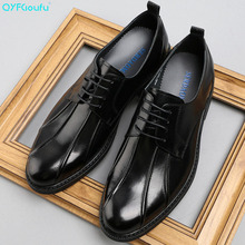 QYFCIOUFU Brand Lace-up Men Oxfords Formal Shoes Black/ Brown Genuine Leather Dress Wedding Luxury Suit Flats