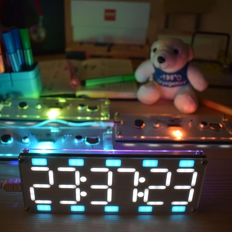 DIY большой двух Цвет цифровые часы DIY Kit 6 цифр светодиодный цифровые часы трубки комплект Touch Управление + время температура/дата/неделя ...