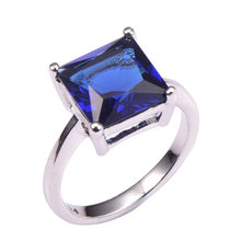 Blue Crystal Zircon 925 Sterling Silver Wedding Party Fashion Design Romantic Ring Size 5 6 7 8 9 10 11 12 PR48(China)