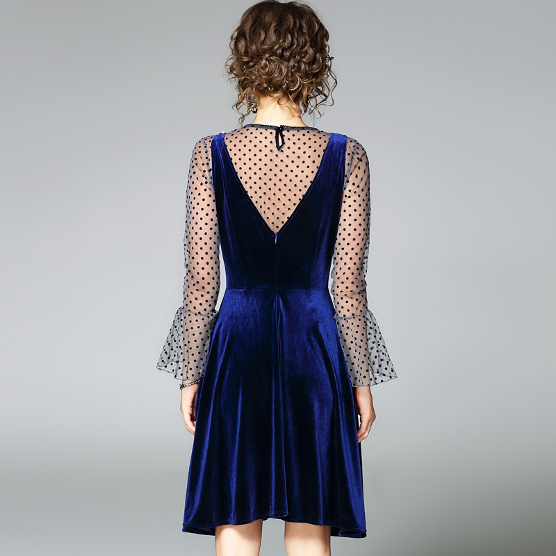 Costume Flare Manches 2017 Automne Nouveau De Mode Velours Dot Gilet Pièces Oycp Femmes Robes Deux Robe Slim Bleu Blouse QCrxsdthB