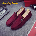 2017 Men Shoes Leather Fashion Quality Leather Man Shoes Red Wine Slip On Moccasins Casual Flat Shoes Men Large Size 39-44