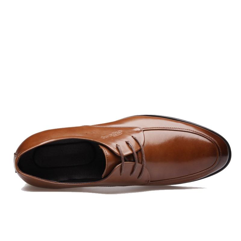 Nouveau 2016 affaires robe chaussures de mariage bout pointu mode chaussures en cuir véritable appartements Oxford chaussures pour hommes taille 38 47 - 2