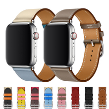 Strap for apple watch band 42mm 38mm Genuine Leather iwatch band 44mm 40mm Single tour bracelet Watchband for apple watch 4 3 2 все цены