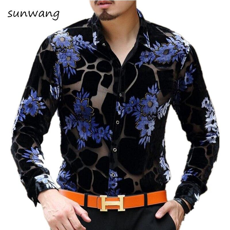 2017 Mens See Through Shirts Leopard Flower Baroque Print Shirts Mens Silk Transparent Dress Shirts Vintage Camiseta Masculina