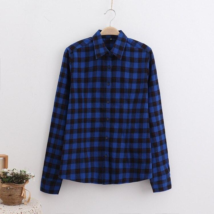 2018 Fashion Plaid Shirt Female College Style Women's Blouses Long Sleeve Flannel Shirt Plus Size Casual Blouses Shirts M-5XL 33