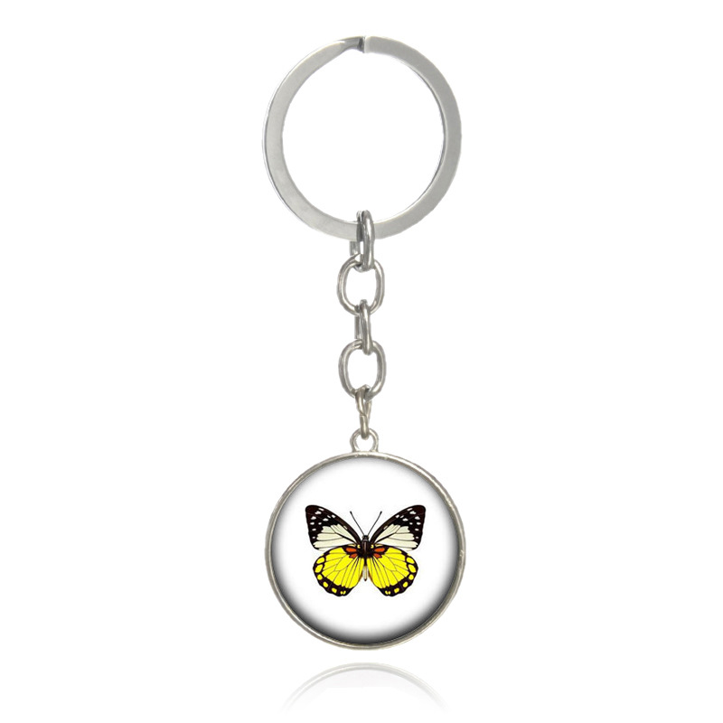 Sitaicery Butterfly Keychain Silver Keyring Glitter Gifts For Women Man Llaveros Mujer Car Bag Accessories Personalized Keyring in Key Chains from Jewelry Accessories