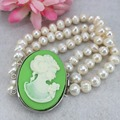 Among the 3 row 7-8mm White all-match girl Akoya Pearl Cameo Necklace Bracelet beads jewelry making   ZH0290