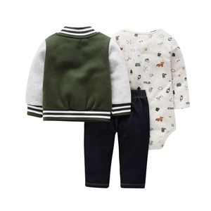 Image 3 - 2020 autumn newborn baby clothes cotton sports style jacket+romper+pants 3 pcs clothing set for 6 24M baby girls outfit set