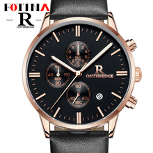 Pequeños Diales de Trabajo Fotina Top Brand R Reloj de Los Hombres de Negocios azul Negro de Cuarzo Cronómetro Relojes de Hombre Fecha Reloj de Cuero Relogio Masculino