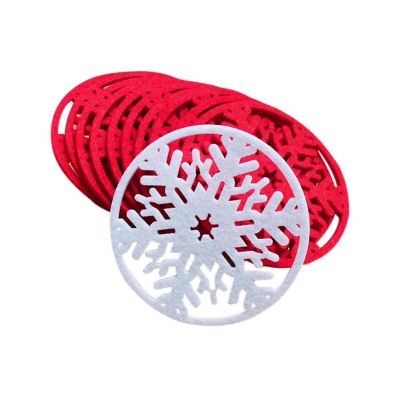 10pcs/lot Merry Christmas Snowflakes Cup Mat Christmas Decorations Dinner Party Dish Christmas Snowflakes Cup Mat CMS8GGO