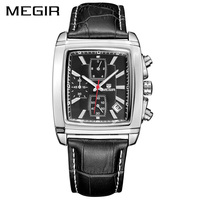 MEGIR Official Quartz Men Watch Genuine Leather Watches Clock Men Chronograph Watch Relogio Masculino For Man