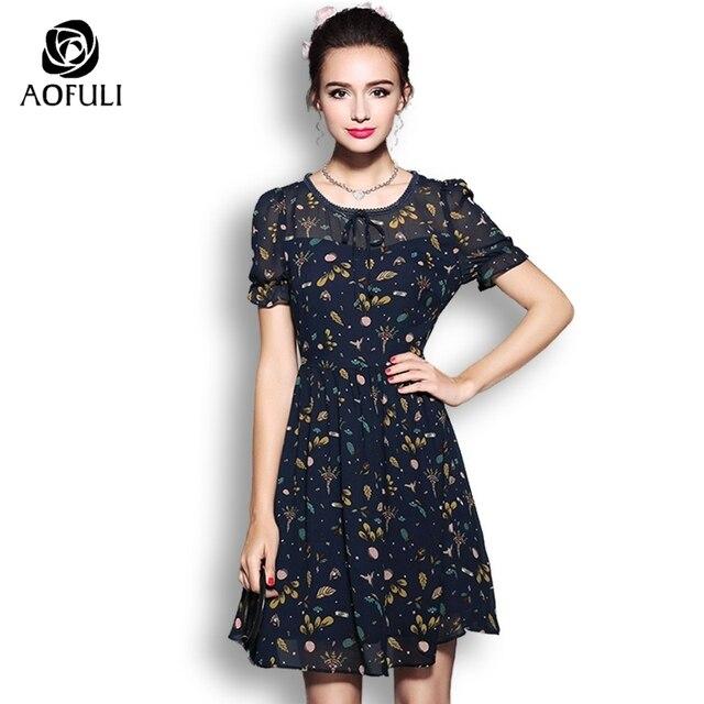 Aofuli Plus Size Women Print Dress For Summer Short Sleeve Chiffon