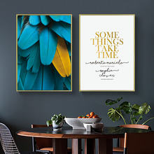 Wall Pictures Nordic Poster Leaf Picture Blue Canvas Painting Abstract Art Living Room Quotes Unframed
