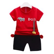 цены на Fashion Infant Cartoon Dog Clothes Summer Baby Boys Girls T-shirt Pants 2Pcs/Sets Children Cotton Clothing Set Toddler Tracksuit  в интернет-магазинах