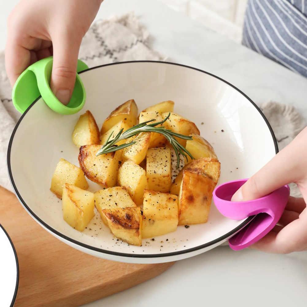 Силиконовый горячий тарелка чаша горшок держатель носитель анти-ожога зажим защита удобная застёжка кухонные инструменты случайных цветов