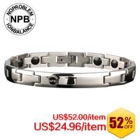 NOPROBLEM Titanium Ion Balance Power Energy Silicone Jewelry Magnets Therapy Vintage Bracelet P043