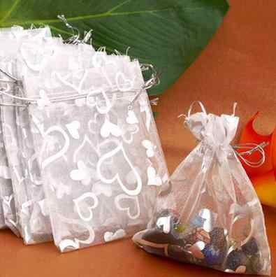 送料無料25ピース銀オーガンジーウェディング好意ギフトバッグポーチ包装ジュエリーキャンディーバッグ