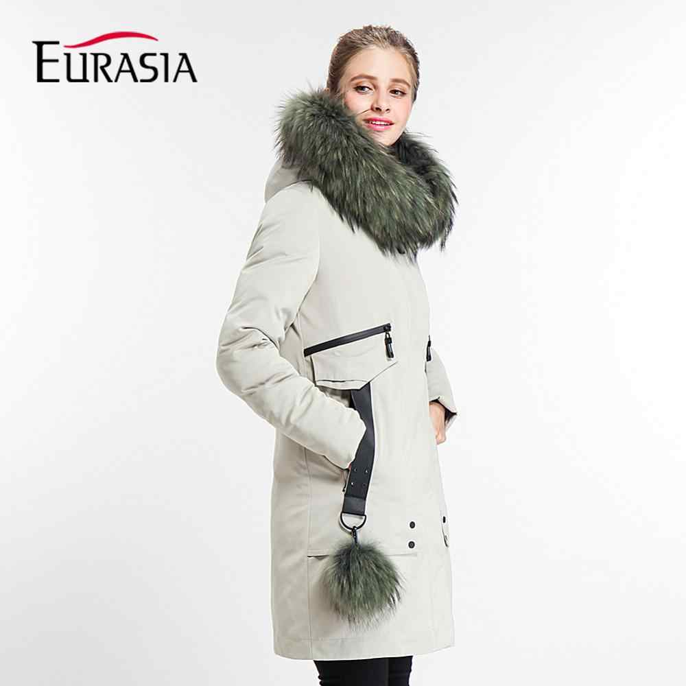 EURASIA 2019 New Brand Designer Long Thick  Coat Lady Winter Jacket Women Parka Real Fur Collar Hood Full Outerwear Y170022