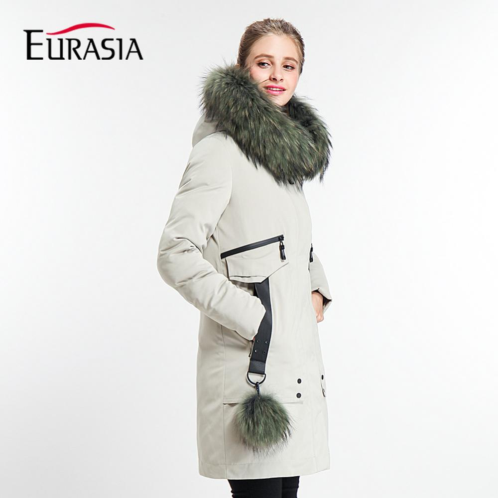 EURASIA 2018 New Brand Designer Long Thick Coat Lady Winter Jacket Women   Parka   Real Fur Collar Hood Full Outerwear Y170022