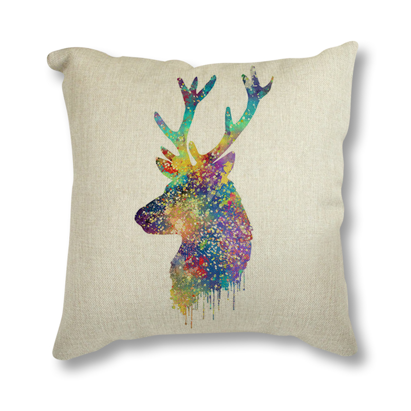 Nordic Style Cotton Linen Bedding Lumbar Decorative Cushion For Sofa Watercolor Abstract Animal Deer Seat Cushion Throw Pillow