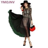 YMOJNV Nữ Quần Áo Mùa Hè Váy Nữ 2017 Long Black Đầm Voan Splice Sexy Quan Điểm Vàng Ren Dresses + Sling Váy