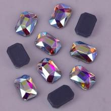 Emerald-Cut Crystal Ab Rhinestones/iron-On Flat-Back AAA 3x5mm 4x6mm Lead-Free